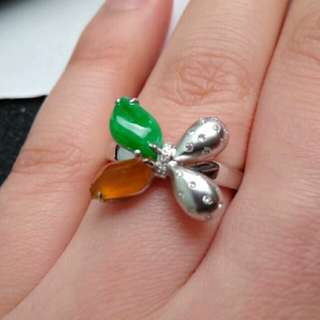 🏵️18K White Gold - Grade A Icy Yellow and Green Red Unique Jadeite Jade Ring🏵️