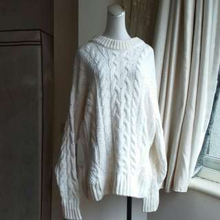 H&M LOGG系列 超寬鬆落肩麻花羊毛混紡毛衣
