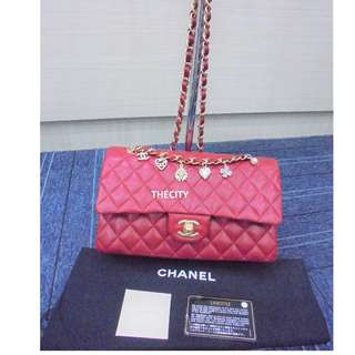 AUTHENTIC CHANEL LIMITED EDITION VALENTINES MEDIUM LAMBSKIN DOUBLE FLAP BAG - LIKE NEW !