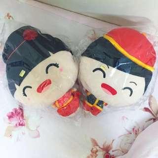 🚚 皇樓夫妻暖手娃娃 (新房壓床、婚禮佈置)