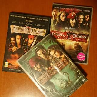 Pirates of the  Caribbean x 3 dvds