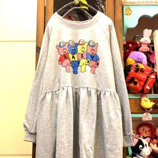LAZY 小熊排排站長袖洋裝