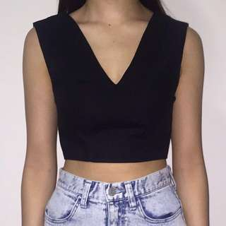 V-Neck Black Crop Top