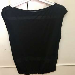 Coure Carre black sheer blouse