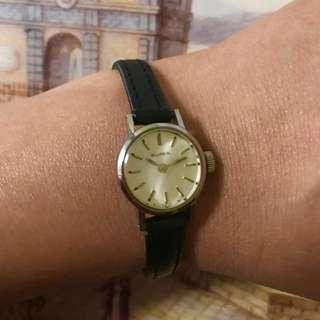 瑞士 Buren 古董 手動上鏈 白金鋼 皮帶 女裝錶