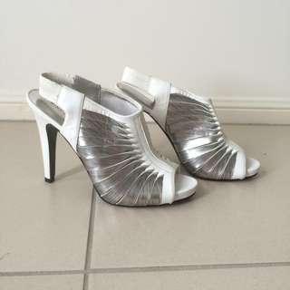 White & silver Heels
