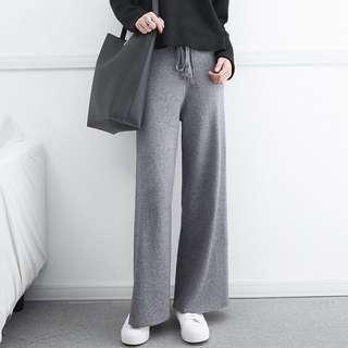 🚚 ✅《預》🛍寶媽推薦👍 歐美復古時尚高腰顯瘦繫帶針織闊腿褲 厚款寬褲
