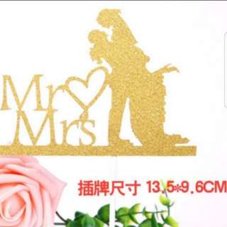 Mr and Mrs wedding/party cake topper A003