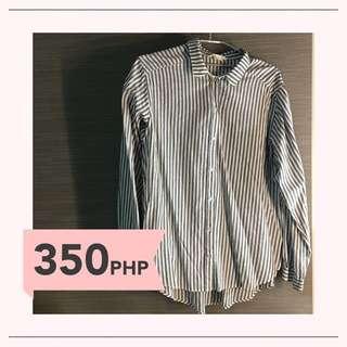 H&M Striped Blouse (gray)