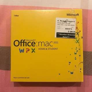 Microsoft Office Home & Student 2011 for MAC - 1 user (Negotiable)
