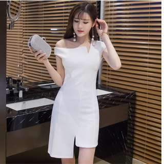 Small Celebrity Ladies Temperament With Oblique Shoulders Irregular Strapless Women White Dress