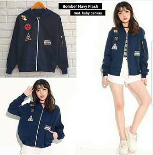 BOMBER FLASH NAVY 69.000 Bahan Canvas Tangan Leher Rip Fit to L
