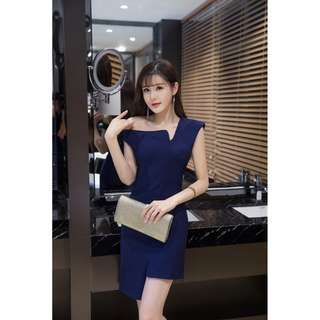 Small Celebrity Ladies Temperament With Oblique Shoulders Irregular Strapless Women Dark Blue Dress