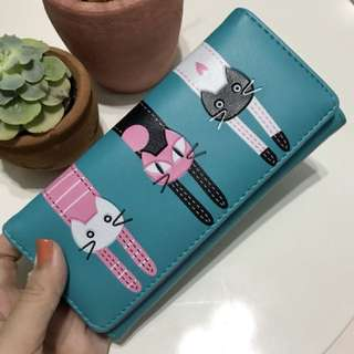 Blue Wallet with Cat Design