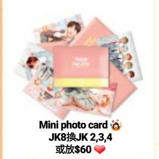 BTS JK mini photo card