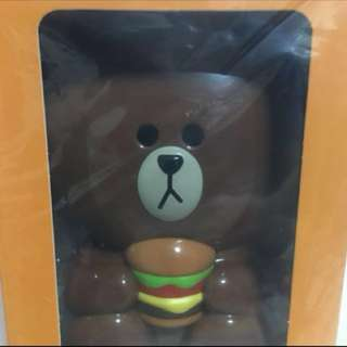 (Brand New) Line Brown Handheld Fan