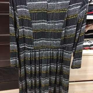 正版H&M長袖洋裝 歐美款 輕柔薄款長袖民俗風洋裝