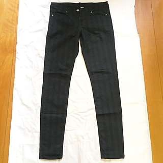 H&M black stripped pants