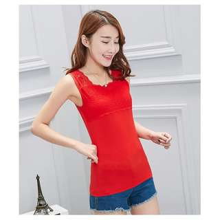 Camisole Laces Slim Fit Sexy Wild Shirt - Red