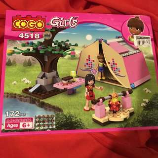 COGO Girls 4518 BBQ Campers Tent Learning Bricks Blocks Kids Toys Set Tree Birthday Party Favor 179 Pieces