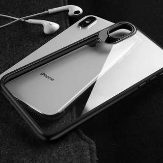 iPhone X case 透明玻璃背殼 送 玻璃貼膜 mon 貼 包郵
