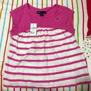 Gap pink stripy t shirt