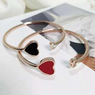 Rose Gold Bracelet Bangle (Hearts)