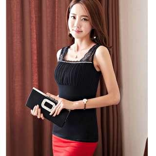 Spliced Chiffon Sequins Laces Camisole Korean Fashion Shirt - Black