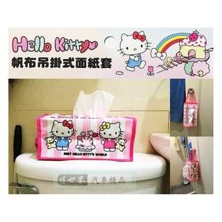 🚚 權世界@汽車用品 Hello Kitty 朋友圖案 帆布面紙盒套(可吊掛車內頭枕) KT-A-1357-1