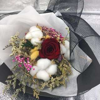 Valentine's Sale! Preserved fresh Rose with cotton and mixed dried flowers(Size : Ht46cm x w33cm) Bouquet (5cm Ecuador Rose)