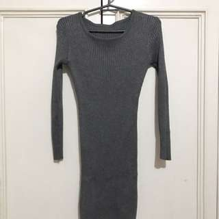 Gray ribbed dress