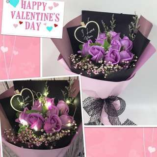 Valentine's Flower- Lasting 9 Stalk Scented Bouquet with LED lighting (size Ht40cm x w36cm)
