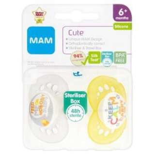 MAM Cute 6m+ silicone soothers (keep calm+feed me)