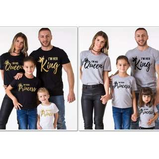 KING QUEEN PRINCESS PRINCE Print Tees Family Couple Wedding Valentine