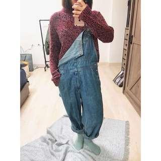 [二手]古著店購入 復古洗舊牛仔吊帶褲