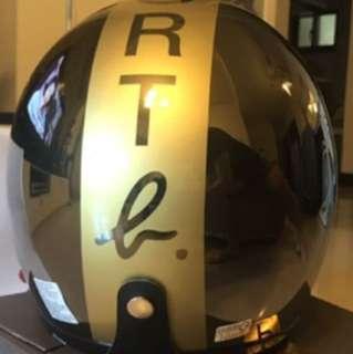 agnes b.】SPORT 金色b.logo 安全帽(鏡面黑銀)