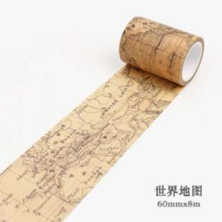 Vintage world map kraft washi tape for scrapbook, planners and journals