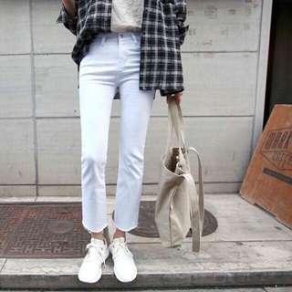 轉賣正韓白色牛仔褲stylenanda dahong kongstyle lovebabytwins