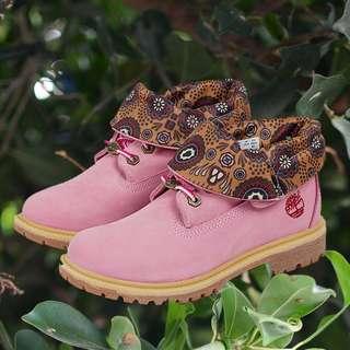 Timberland添柏嵐女鞋翻邊戶外休閑鞋工裝防水高幫大黃靴女靴粉色