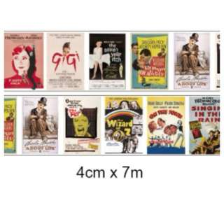Vintage movie posters washi tape for scrapbook, planners and journals