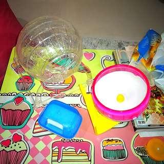 Running wheels and food bowl