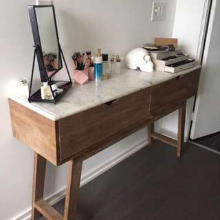 REDUCED Marble top solid wood side table