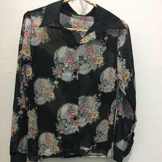 Long Sleeve Black Skull Top