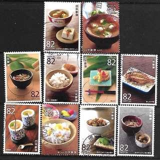 日本2015年日本美食文化(一)集第1組(C2242)信銷郵票10全