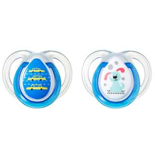 Tommee Tippee 0-6m Anytime Soothers (blue/pink)