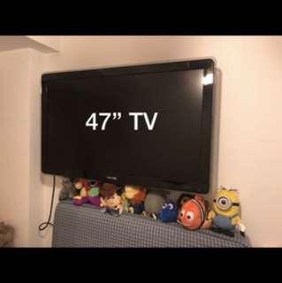 Philips 47'' LED 電視 連掛牆架