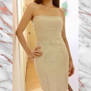 Herve Leger Shoulderless Short Bandage Dress