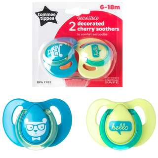 Tommee Tippee 6-18m Decorated Cherry Soothers (blue/pink)