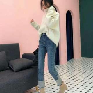 女裝韓版高腰寬鬆抓痕顯瘦九分褲