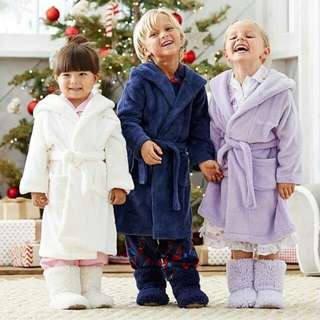 Kids Terry Velour Bathrobe, Hooded, 100% Cotton, Made In Turkey